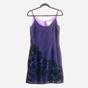 Papell Evening Boutique Beaded Slip Dress 8 Purple